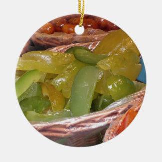 Sweet candied cedar peels . Italian recipe Round Ceramic Ornament