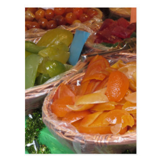 Sweet candied fruit peels . Italian recipe Postcard