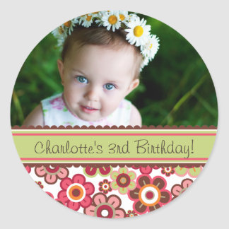 Sweet Candy Daisies Girl Birthday Photo Sticker