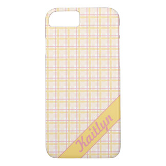 Sweet candy pink with soft yellow tartan pattern iPhone 7 case