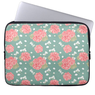 Sweet Carnation Flower Seamless Pattern Laptop Sleeve