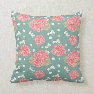 Sweet Carnation Flower Seamless Pattern Throw Pillow