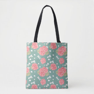 Sweet Carnation Flower Seamless Pattern Tote Bag