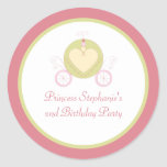 Sweet carriage princess party birthday stickers