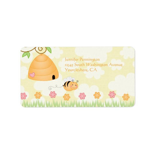 Sweet cartoon bumble bee baby shower address label
