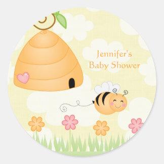 Sweet cartoon bumble bee baby shower sticker