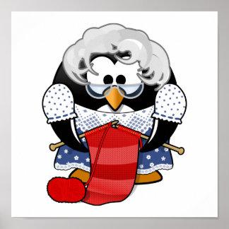 Sweet Cartoon Grandma Penguin Posters