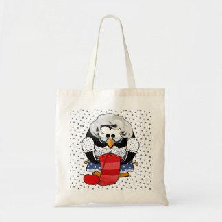 Sweet Cartoon Grandma Penguin with Flower Pattern Canvas Bags