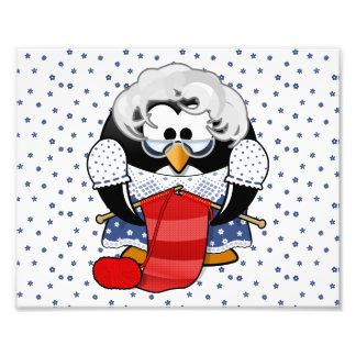 Sweet Cartoon Grandma Penguin with Flower Pattern Photographic Print