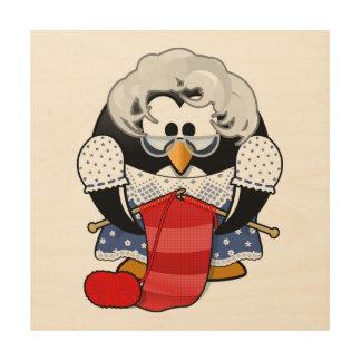 Sweet Cartoon Grandma Penguin Wood Canvas