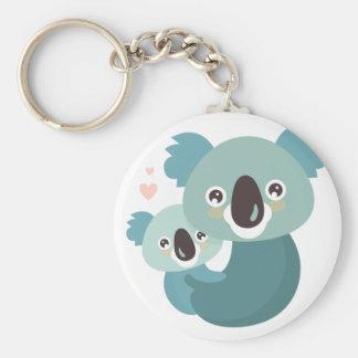 Sweet cartoon koala mother and baby hugging basic round button keychain