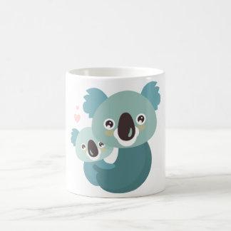 Sweet cartoon koala mother and baby hugging coffee mug