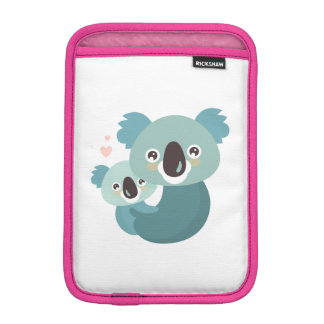 Sweet cartoon koala mother and baby hugging iPad mini sleeve