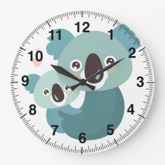 Sweet cartoon koala mother and baby hugging large clock