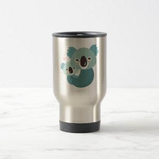 Sweet cartoon koala mother and baby hugging travel mug