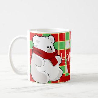 Sweet Cartoon Polar Bear In Red Scarf Classic White Coffee Mug