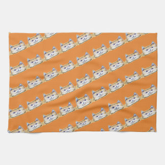 sweet cat face funny cartoon kitchen towel