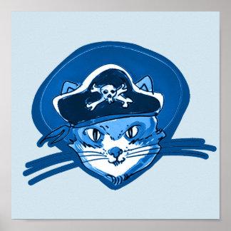 sweet cat face wearing pirate hat cartoon poster