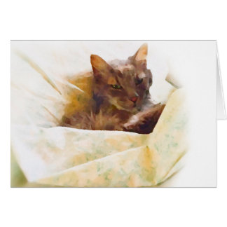 Sweet cat in bed sheets card