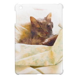 Sweet cat in bed sheets cover for the iPad mini