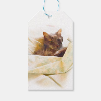 Sweet cat in bed sheets gift tags