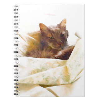 Sweet cat in bed sheets spiral notebook