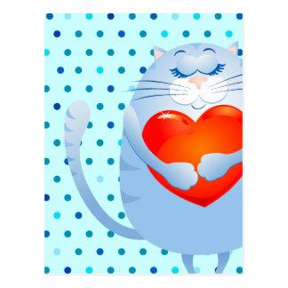 Sweet cat in love, postcard