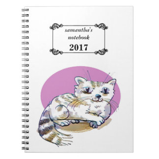 sweet cat lying down cartoon customizable notebook