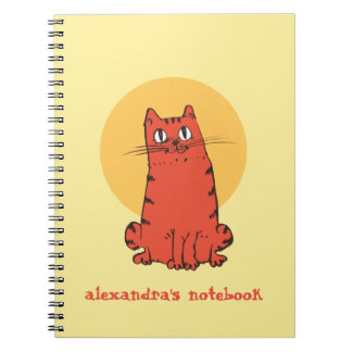 sweet cat sitting cartoon with customizable text notebook
