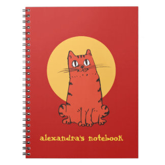 sweet cat sitting cartoon with customizable text notebooks