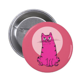sweet cat sitting funny cartoon 2 inch round button