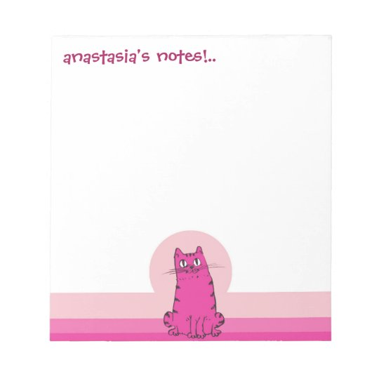 sweet cat sitting funny cartoon customizable notepad
