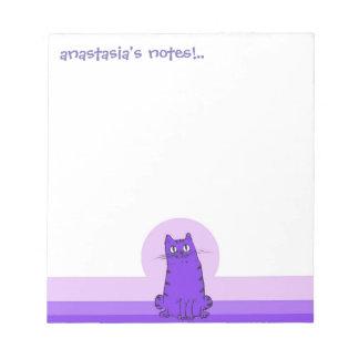 sweet cat sitting funny cartoon customizable notepad