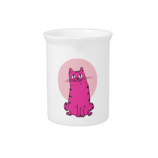 sweet cat sitting funny cartoon pitcher