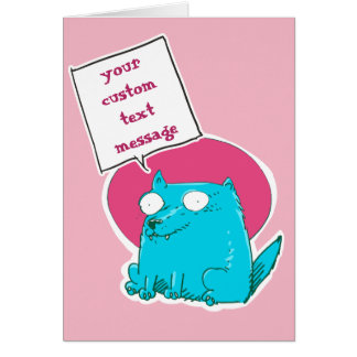 sweet cat sitting on the ground funny cartoon card