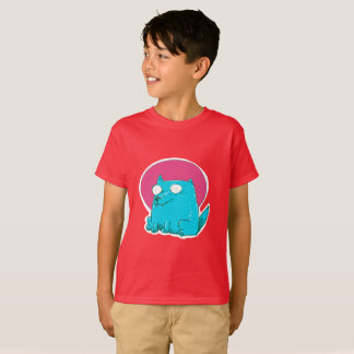 sweet cat sitting on the ground funny cartoon T-Shirt