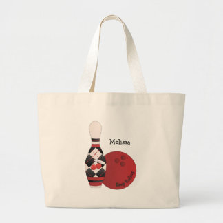Sweet Cherry Argyle Bowling Design Large Tote Bag