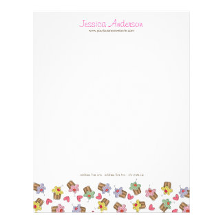 Sweet Cherry Cupcakes Confectionery Bakery Cute Letterhead