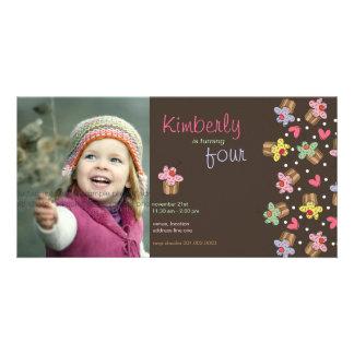 Sweet Cherry Cupcakes Girl Birthday Photo Invite