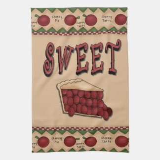 Sweet Cherry Pie with Cherries Border Towel