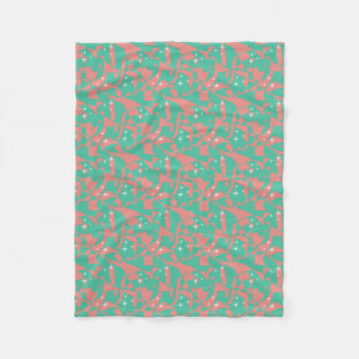 Sweet Chic Salmon Pink Light Mint Green Sparkles Fleece Blanket