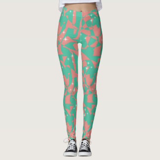 Sweet Chic Salmon Pink Light Mint Green Sparkles Leggings