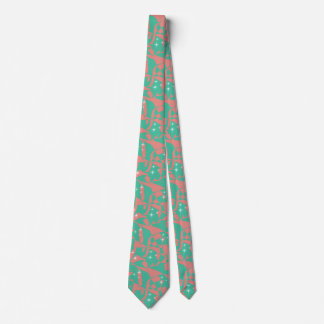 Sweet Chic Salmon Pink Light Mint Green Sparkles Tie