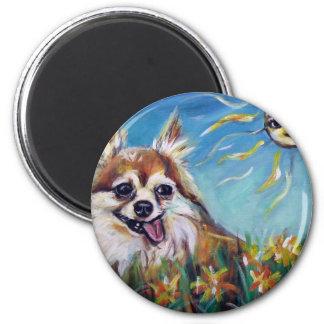 "Sweet Chihuahua ""Valentine"" 2 Inch Round Magnet"