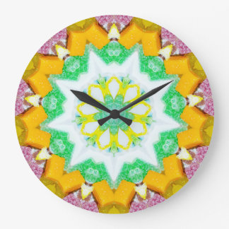 Sweet Christmas Candy with Coconut Fractal Large Clock