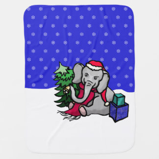 Sweet Christmas Cartoon Elephant in Snowy Winter Baby Blanket