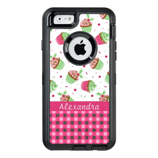 Sweet Christmas cupcakes and pink dots name OtterBox iPhone 6/6s Case