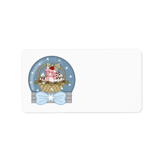 Sweet Christmas Pig in A Basket Snowglobe