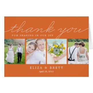 Sweet Collage Wedding Thank You Card - Orange