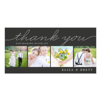Sweet Collage Wedding Thank You Cards - Charcoal Photo Greeting Card